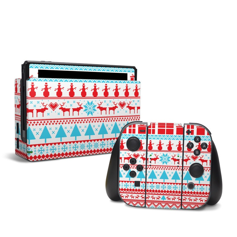 Nintendo Switch Skin design of Pattern, Textile, Line, Design with pink, white, red, gray, purple, blue colors