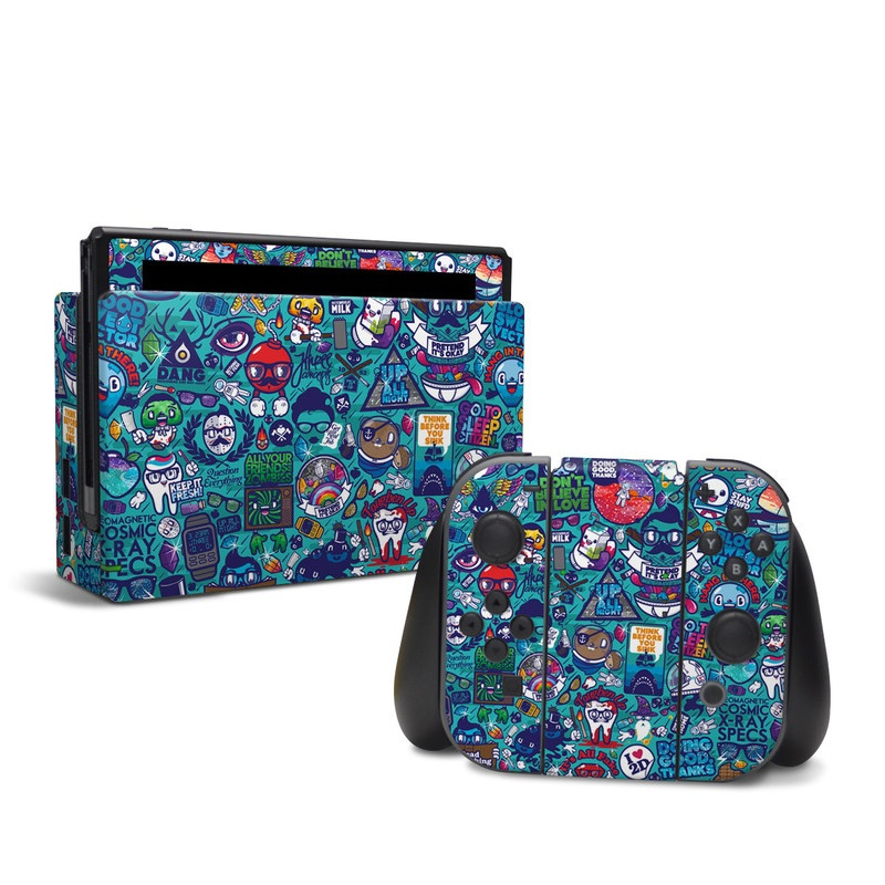 Nintendo Switch Skin design of Art, Visual arts, Illustration, Graphic design, Psychedelic art with blue, black, gray, red, green colors