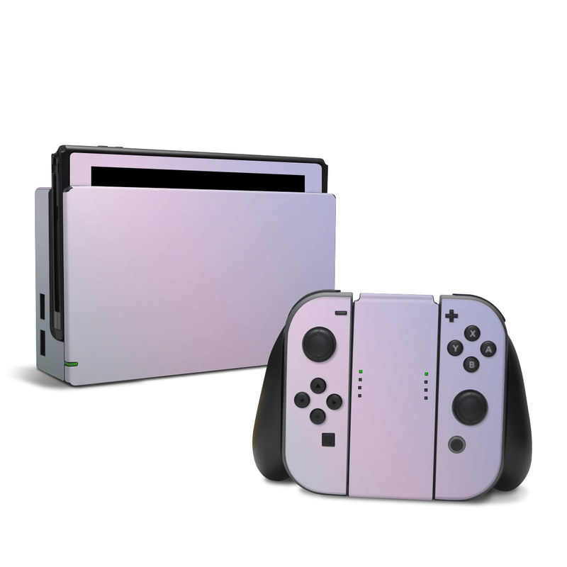 Nintendo Switch Skin design of White, Blue, Daytime, Sky, Atmospheric phenomenon, Atmosphere, Calm, Line, Haze, Fog with pink, purple, blue colors
