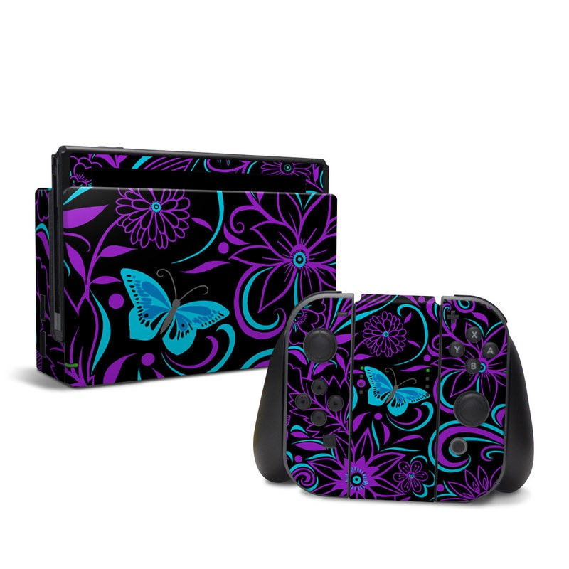 Nintendo Switch Skin design of Pattern, Purple, Violet, Turquoise, Teal, Design, Floral design, Visual arts, Magenta, Motif with black, purple, blue colors