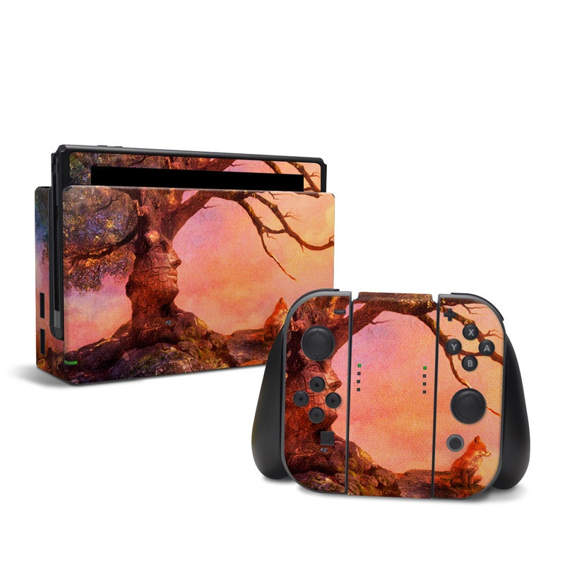 Nintendo Switch Skin design of Nature, Tree, Sky, Natural landscape, Branch, Leaf, Woody plant, Trunk, Landscape, Plant with pink, red, black, green, gray, orange colors
