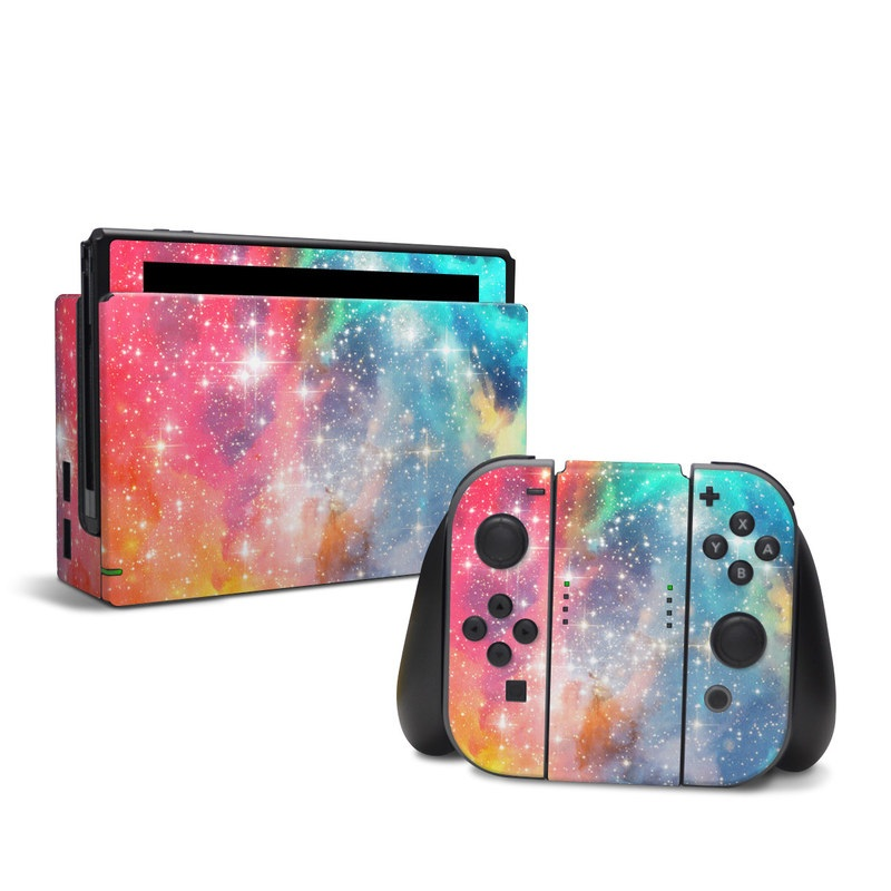 Nintendo Switch Skin design of Nebula, Sky, Astronomical object, Outer space, Atmosphere, Universe, Space, Galaxy, Celestial event, Star with white, black, red, orange, yellow, blue colors