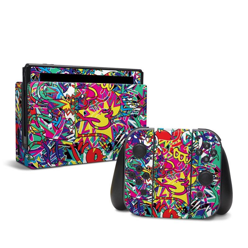 Nintendo Switch Skin design of Psychedelic art, Art, Visual arts, Pattern, Design, Graffiti, Graphic design, Modern art, Illustration with black, red, blue, purple, gray colors