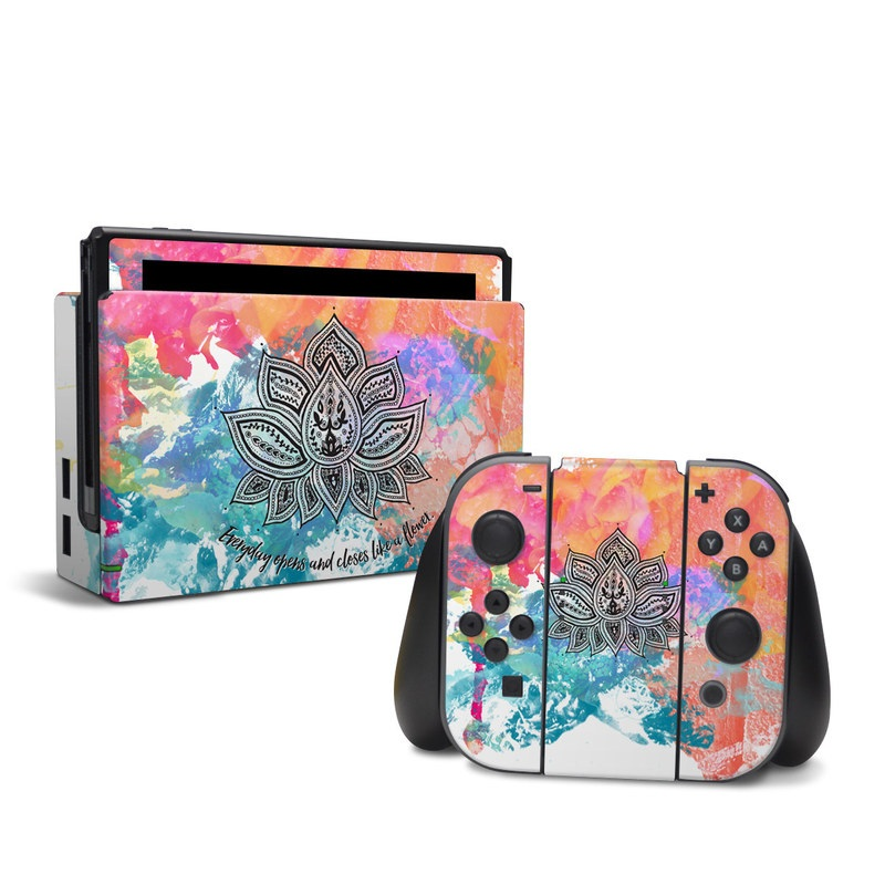 Nintendo Switch Skin design of Pink, Leaf, Pattern, Design, Graphic design, Illustration, Symmetry, Visual arts, Art, Plant with orange, yellow, red, blue, green, black colors