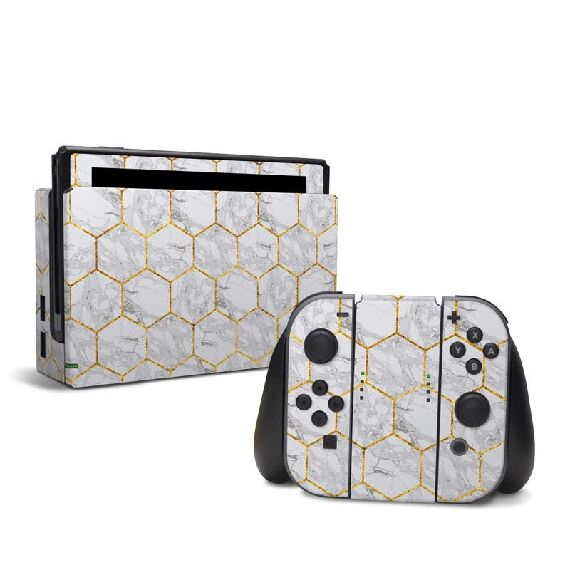 Nintendo Switch Skin design of Pattern, Tile flooring, Line, Tile, Design, Flooring, Floor with white, black, brown colors