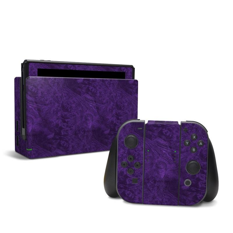 Nintendo Switch Skin design of Violet, Purple, Lilac, Pattern, Magenta, Textile, Wallpaper with black, blue colors