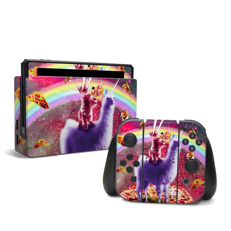 Nintendo Switch Skin design of Llama, Unicorn, Fictional character, Illustration, Graphic design, Livestock, Camelid, Mythical creature, Graphics, Art with red, white, yellow, gray, purple, blue, green colors