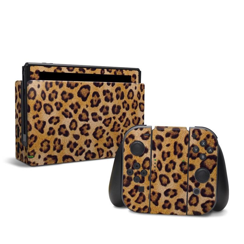 Nintendo Switch Skin design of Pattern, Felidae, Fur, Brown, Design, Terrestrial animal, Close-up, Big cats, African leopard, Organism with orange, black colors