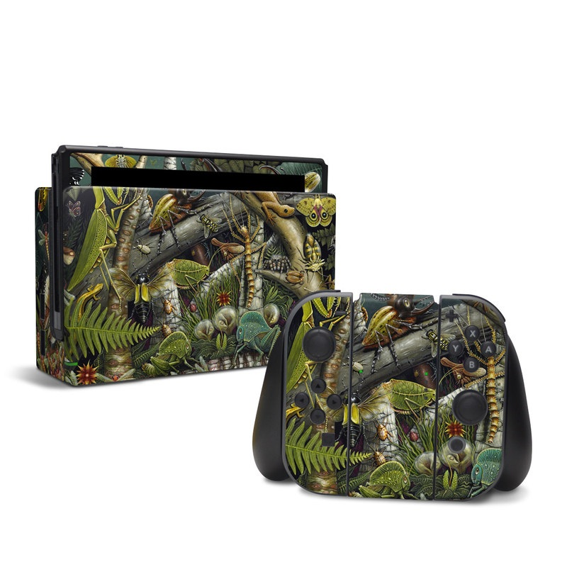 Nintendo Switch Skin design of Strategy video game, Mythology, Art, Games, Plant, Painting, Adventure game, Jungle, Fictional character, Nepenthes with green, brown, red, yellow, gray, blue, white colors