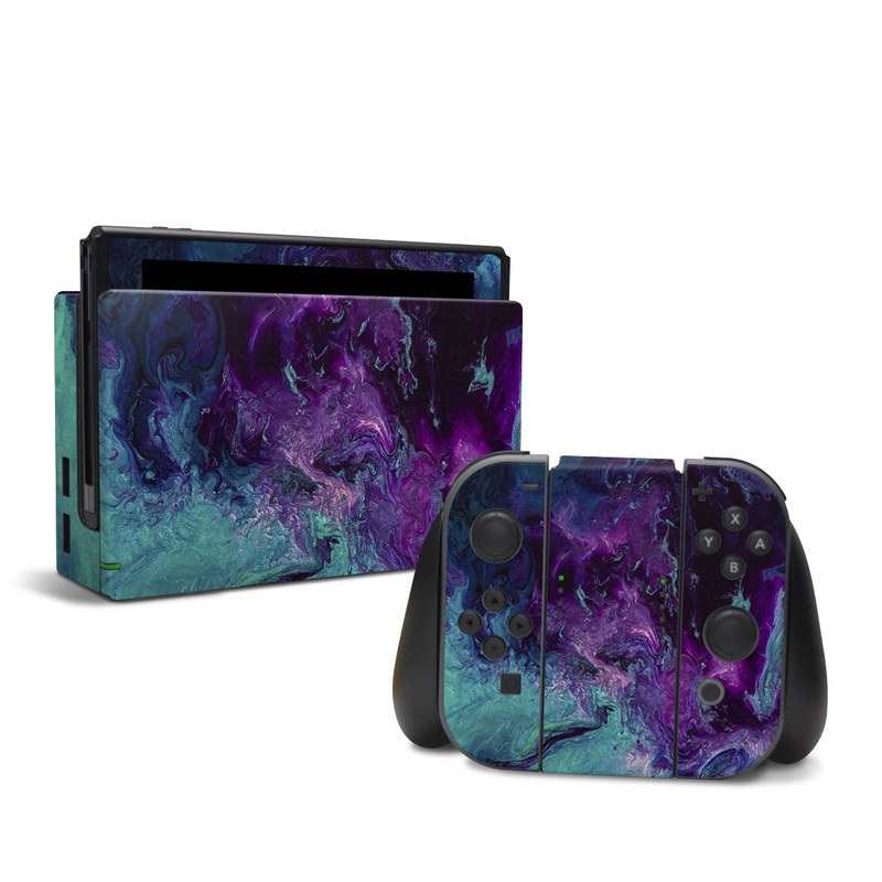 Nintendo Switch Skin design of Blue, Purple, Violet, Water, Turquoise, Aqua, Pink, Magenta, Teal, Electric blue with blue, purple, black colors