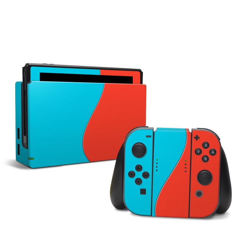 Nintendo Switch Skin design with blue, red colors