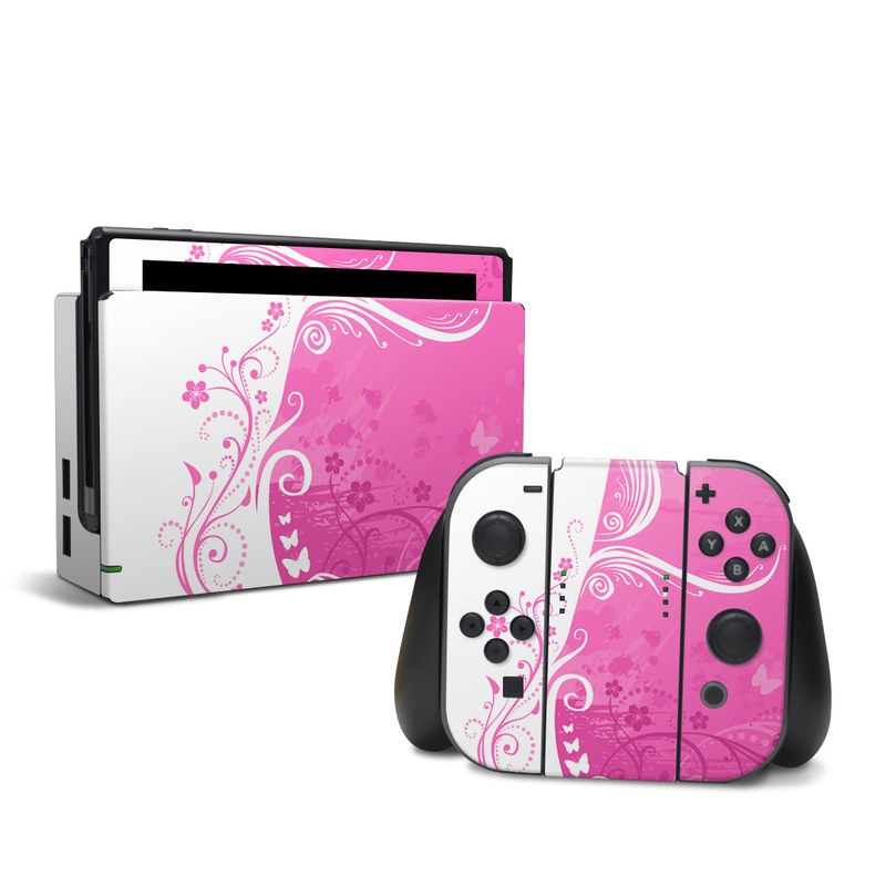 Nintendo Switch Skin design of Pink, Pattern, Magenta, Design, Visual arts, Wallpaper, Paisley, Floral design, Ornament, Motif with pink, white, purple colors