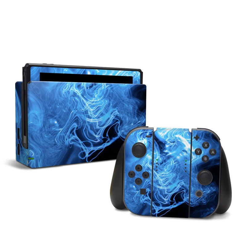 Nintendo Switch Skin design of Blue, Water, Electric blue, Organism, Pattern, Smoke, Liquid, Art with blue, black, purple colors