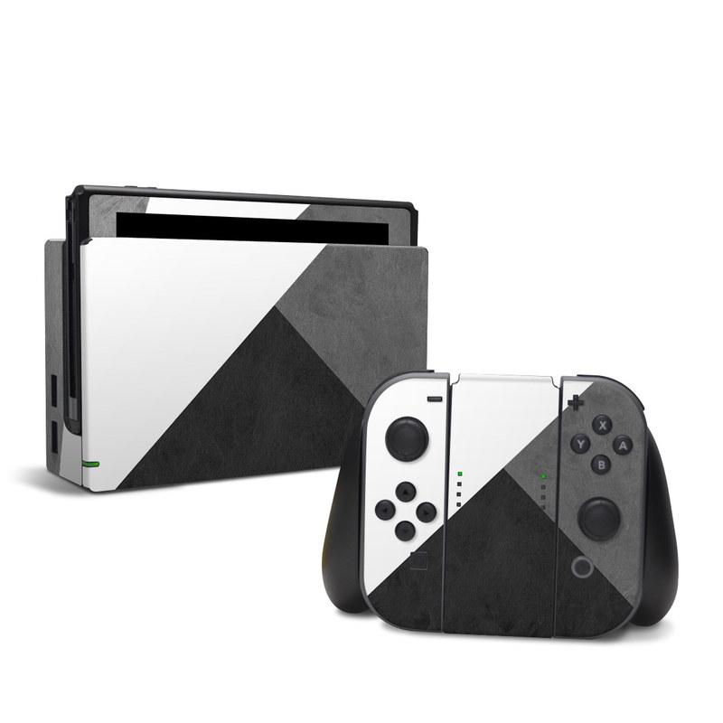 Nintendo Switch Skin design of Black, White, Black-and-white, Line, Grey, Architecture, Monochrome, Triangle, Monochrome photography, Pattern with white, black, gray colors