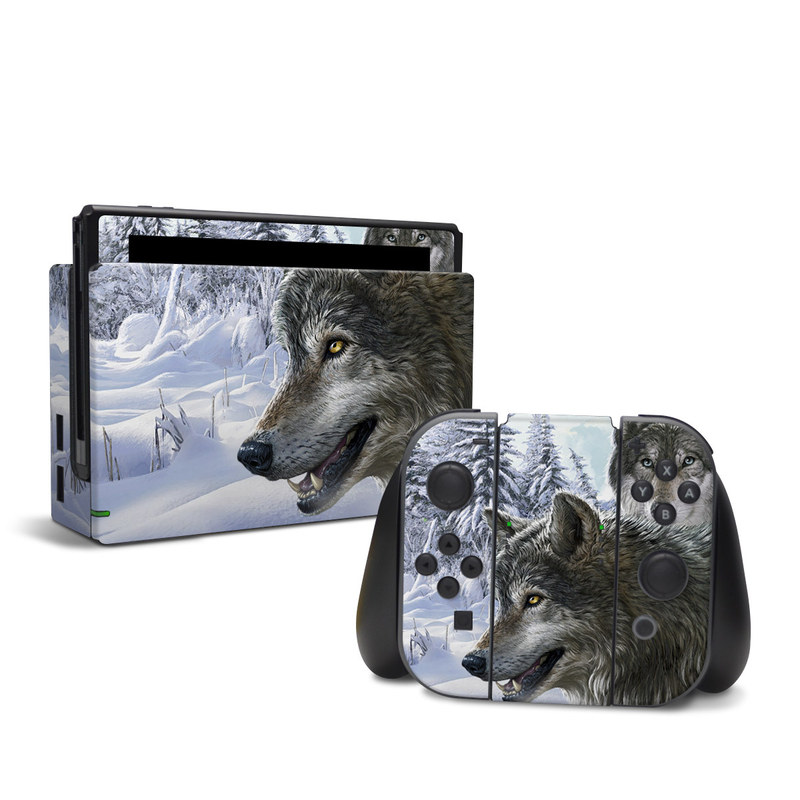 Nintendo Switch Skin design of Mammal, Vertebrate, Wolf, Canidae, canis lupus tundrarum, Canis, Wildlife, Carnivore, Wolfdog, Dog with gray, black, blue, purple colors