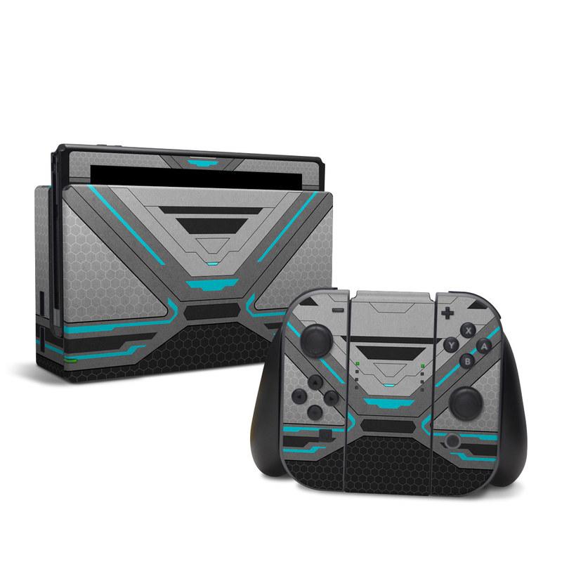 Nintendo Switch Skin design of Blue, Turquoise, Pattern, Teal, Symmetry, Design, Line, Automotive design, Font with black, gray, blue colors