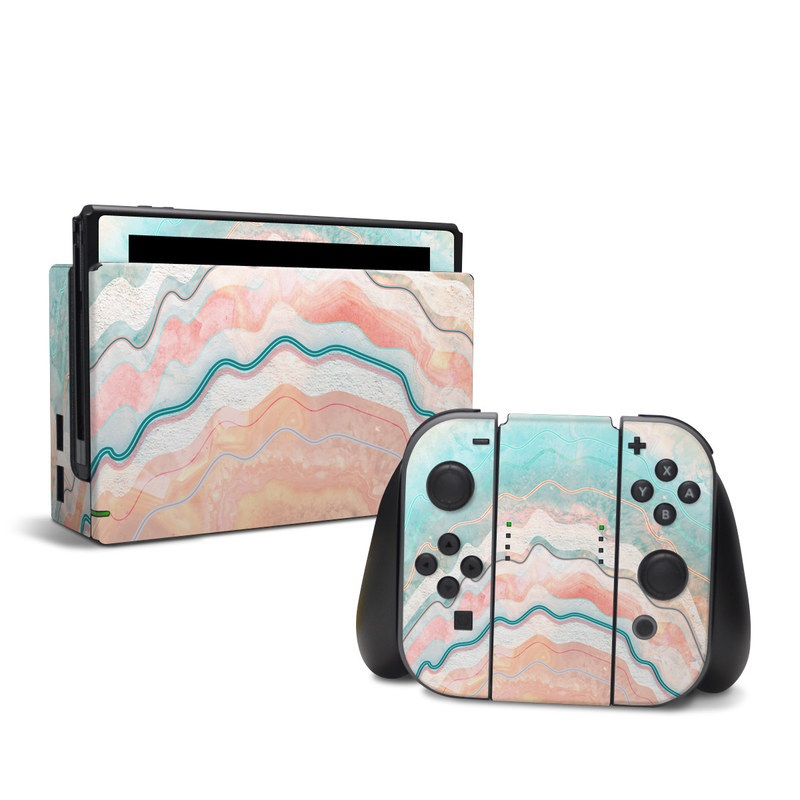 Nintendo Switch Skin design of Aqua, Line, Pattern, Watercolor paint, Design, Illustration, Art with blue, pink, white, orange, yellow colors
