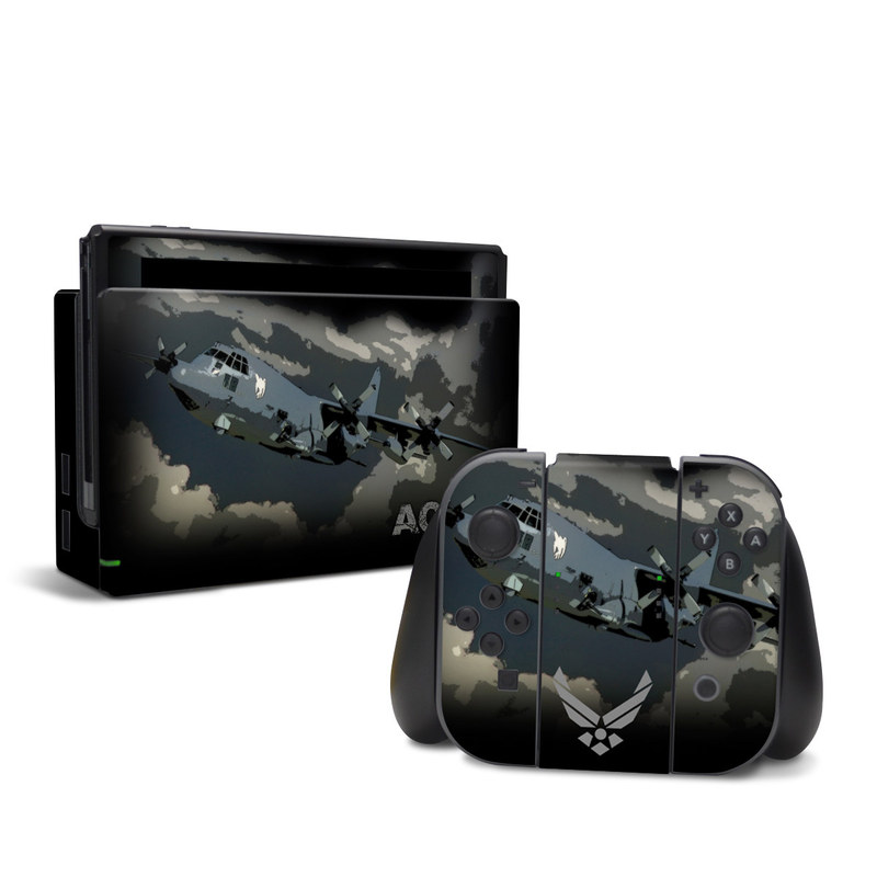Nintendo Switch Skin design of Airplane, Aircraft, Vehicle, Boeing b-29 superfortress, Military aircraft, Aviation, Air force, Propeller-driven aircraft, Illustration with black, gray, blue, green colors
