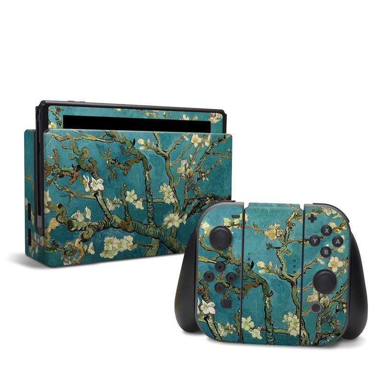 Nintendo Switch Skin design of Tree, Branch, Plant, Flower, Blossom, Spring, Woody plant, Perennial plant with blue, black, gray, green colors