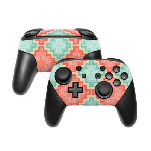 Coral Diamond Nintendo Switch Pro Controller Skin