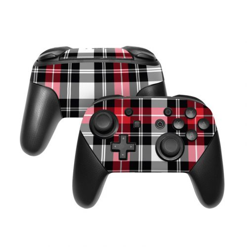 Red Plaid Nintendo Switch Pro Controller Skin