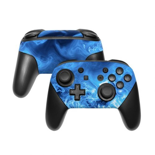 Blue Quantum Waves Nintendo Switch Pro Controller Skin