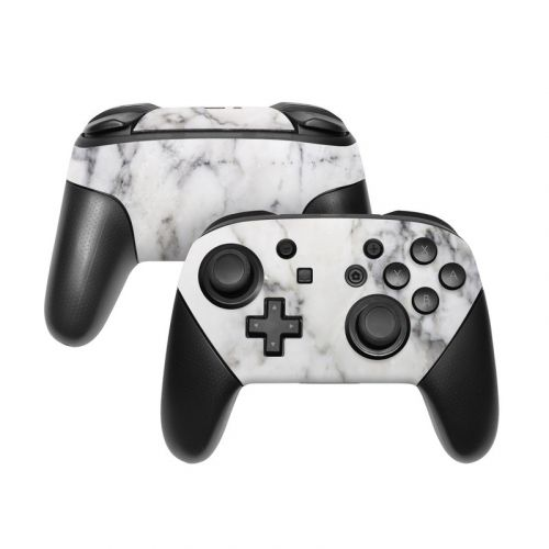 White Marble Nintendo Switch Pro Controller Skin