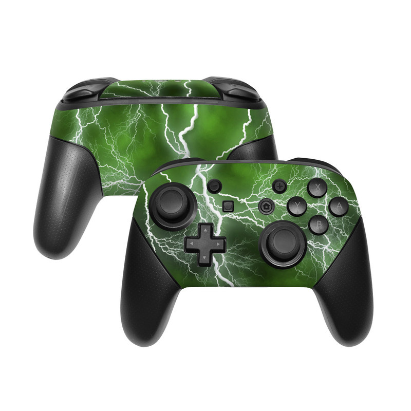 Nintendo Switch Pro Controller Skin design of Thunderstorm, Thunder, Lightning, Nature, Green, Water, Sky, Atmosphere, Atmospheric phenomenon, Daytime with green, black, white colors