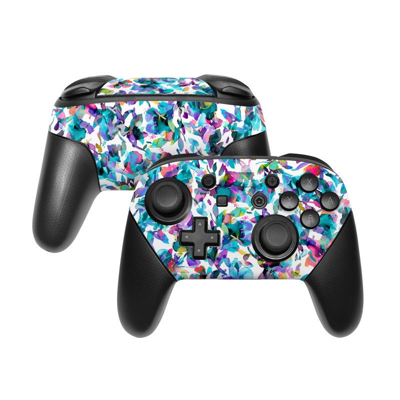 Nintendo Switch Pro Controller Skin design of Pattern, Design, Textile with white, blue, red, purple, pink, orange, yellow colors