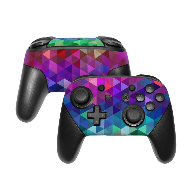 Nintendo Switch Pro Controller Skin design of Purple, Violet, Pattern, Blue, Magenta, Triangle, Line, Design, Graphic design, Symmetry with blue, purple, green, red, pink colors