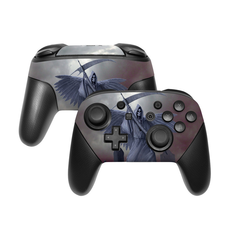 Nintendo Switch Pro Controller Skin design of Wing, Fictional character, Supernatural creature, Cg artwork, Angel, Mythical creature, Illustration, Dragon with black, gray, blue colors