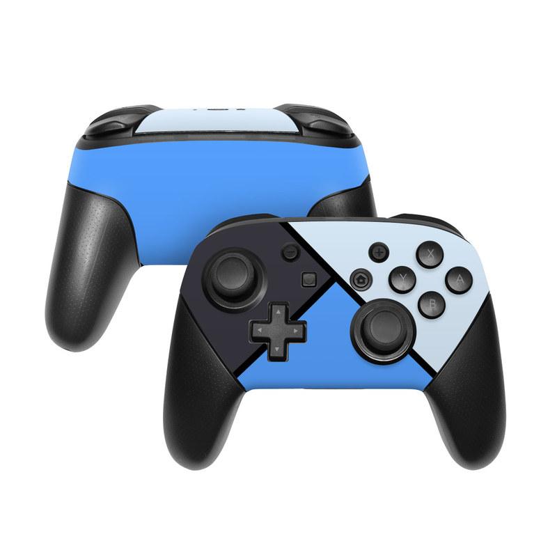Nintendo Switch Pro Controller Skin design of Blue, Line, Cobalt blue, Triangle, Azure, Electric blue, Parallel, Symmetry, Font with blue, gray, black colors