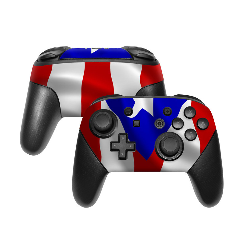 Nintendo Switch Pro Controller Skin design of Flag, Flag of the united states, Flag Day (USA), Veterans day, Independence day with red, blue, white colors