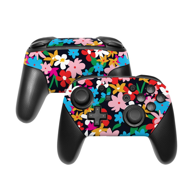 Nintendo Switch Pro Controller Skin design of Colorfulness, Pattern, Art, Magenta, Rectangle, Event, Petal, Electric blue, Visual arts with black, red, pink, white, blue, orange, green colors
