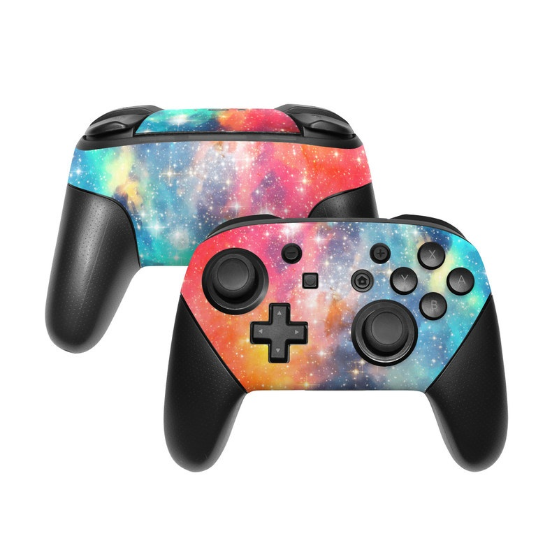 Nintendo Switch Pro Controller Skin design of Nebula, Sky, Astronomical object, Outer space, Atmosphere, Universe, Space, Galaxy, Celestial event, Star with white, black, red, orange, yellow, blue colors