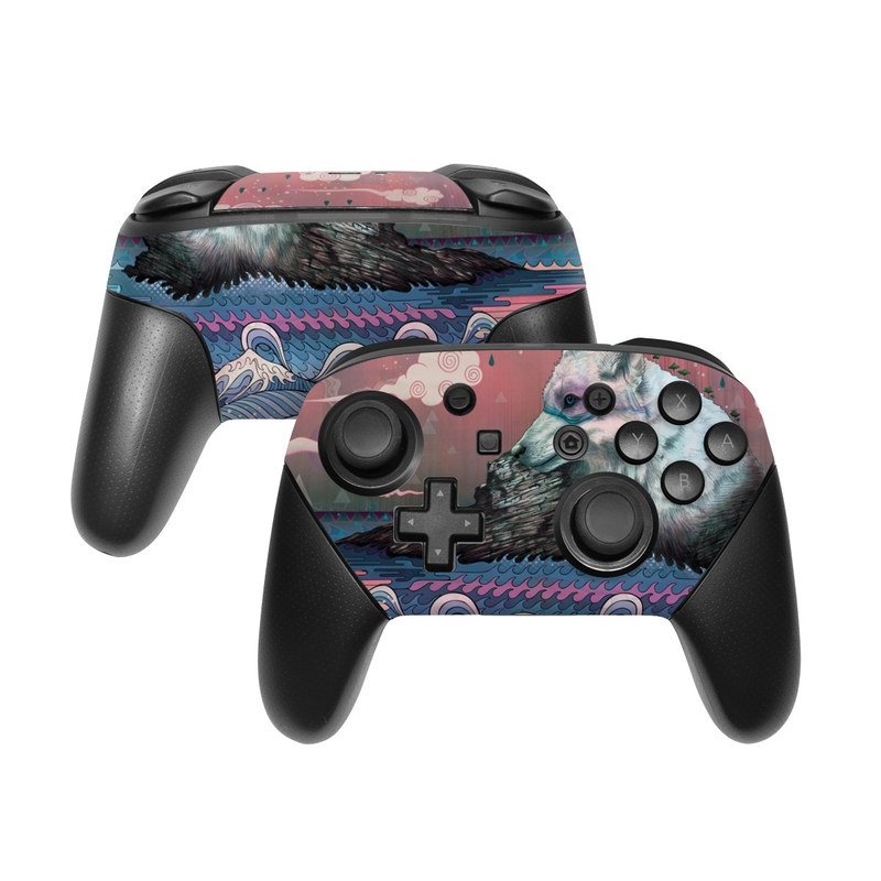 Nintendo Switch Pro Controller Skin design of Illustration, Art with gray, black, blue, red, purple colors