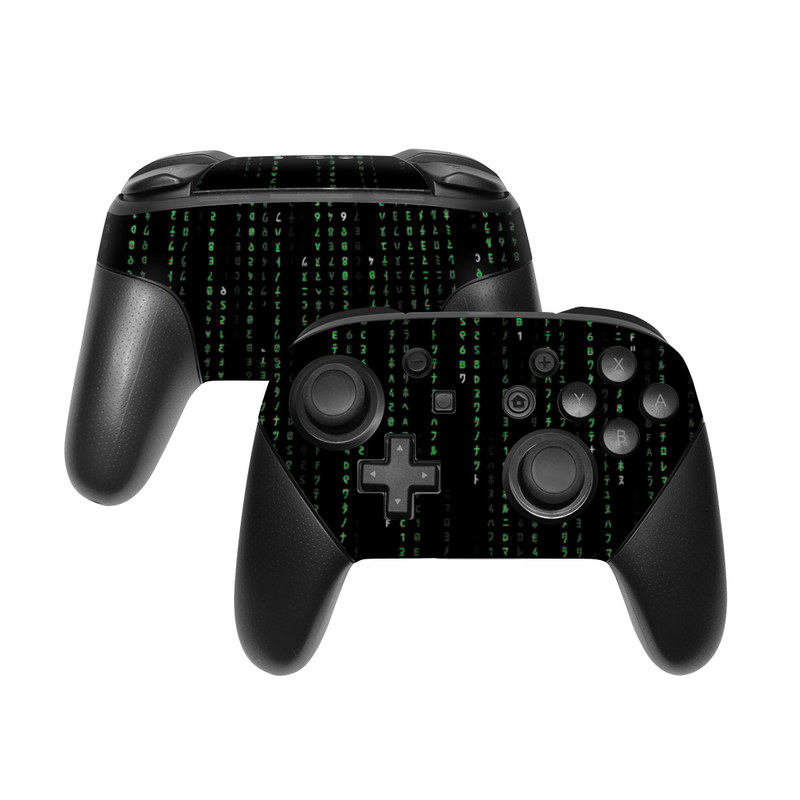 Nintendo Switch Pro Controller Skin design of Green, Black, Pattern, Symmetry with black colors