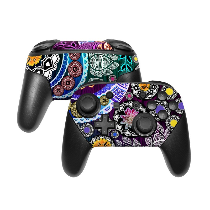 Nintendo Switch Pro Controller Skin design of Pattern, Psychedelic art, Art, Visual arts, Design, Floral design, Textile, Motif, Circle, Illustration with black, gray, purple, blue, green, red colors