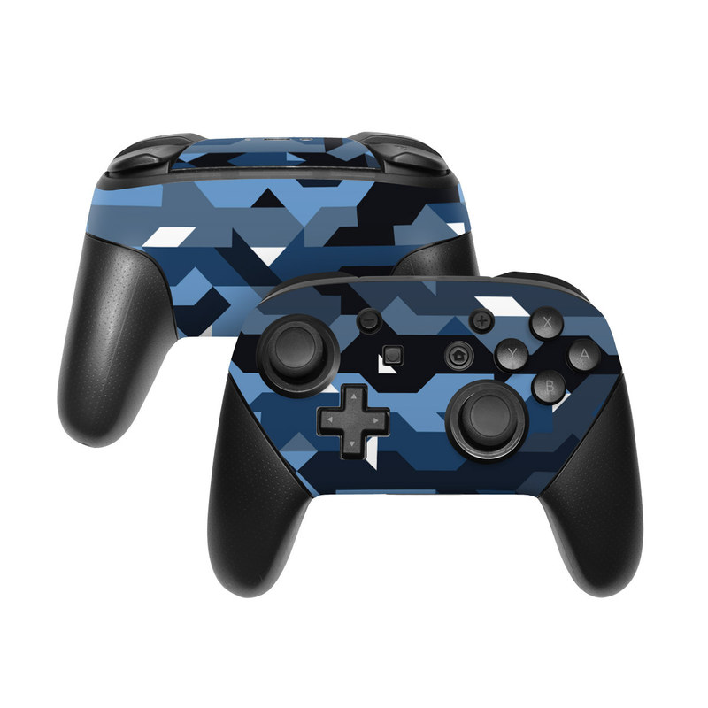 Nintendo Switch Pro Controller Skin design of Blue, Pattern, Design, Font, Line, Camouflage, Illustration, Triangle with blue, black, white, gray colors