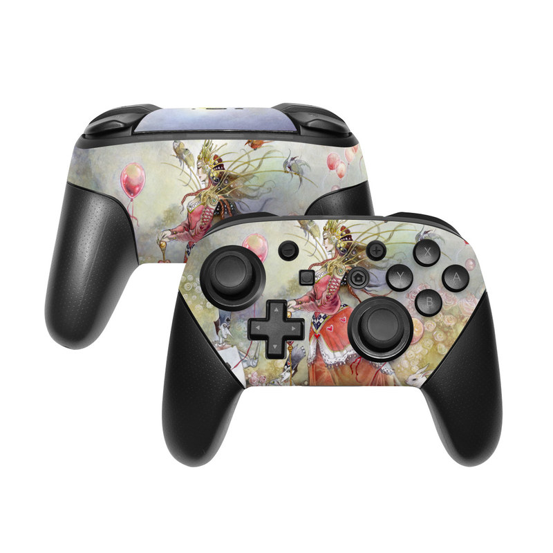 Nintendo Switch Pro Controller Skin design of Watercolor paint, Painting, Art, Illustration, Spring, Flower, Fictional character, Blossom, Plant, Visual arts with red, pink, white, black, blue, yellow, green colors
