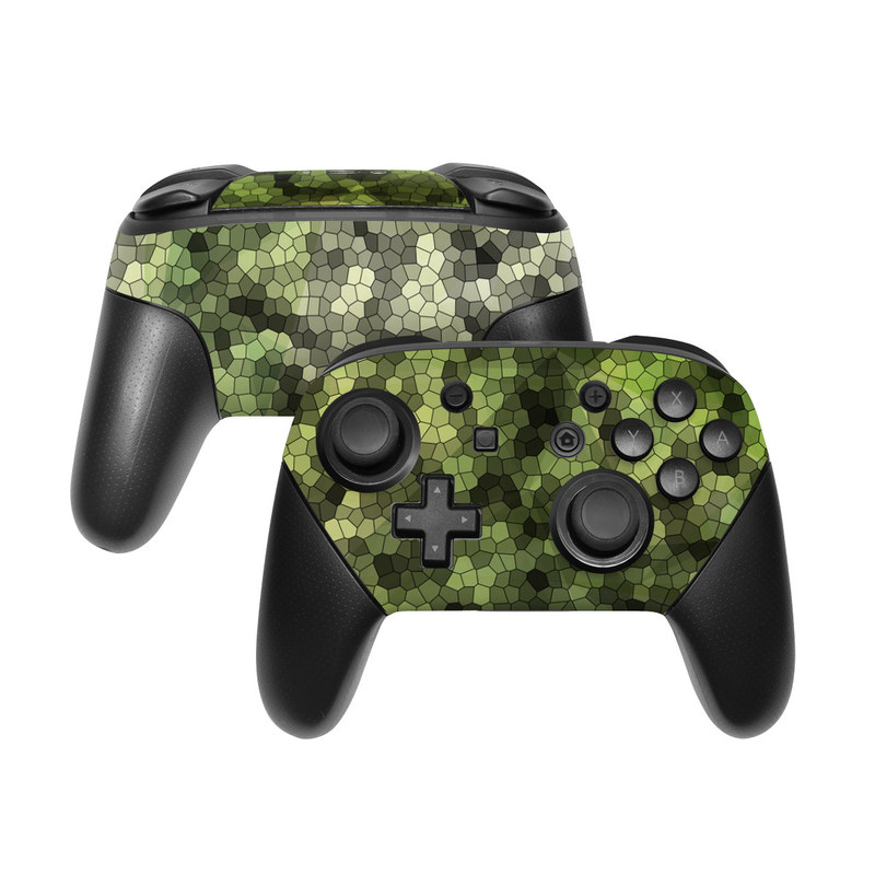 Nintendo Switch Pro Controller Skin design of Green, Grass, Leaf, Plant, Pattern, Groundcover with black, white, green, gray colors