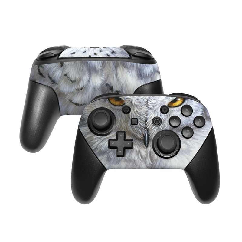 Nintendo Switch Pro Controller Skin design of Owl, Bird, Bird of prey, Snowy owl, great grey owl, Close-up, Eye, Snout, Wildlife, Eastern Screech owl with gray, white, black, blue, purple colors
