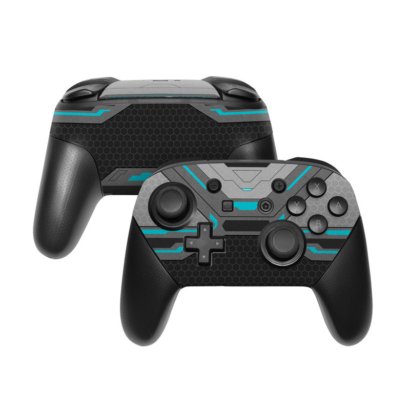 Nintendo Switch Pro Controller Skin design of Blue, Turquoise, Pattern, Teal, Symmetry, Design, Line, Automotive design, Font with black, gray, blue colors