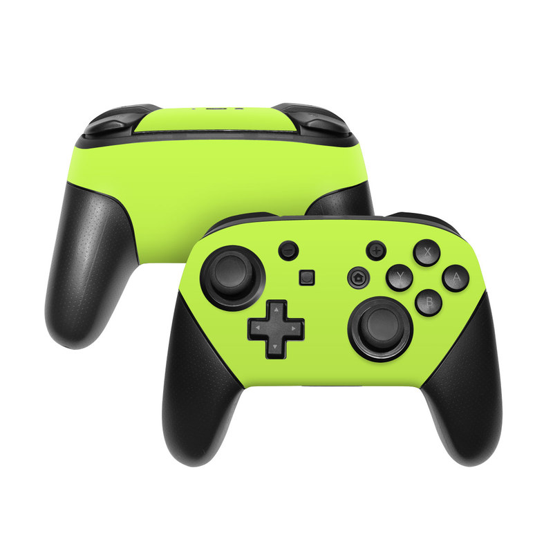 Nintendo Switch Pro Controller Skin design of Green, Yellow, Text, Leaf, Font, Grass with green colors