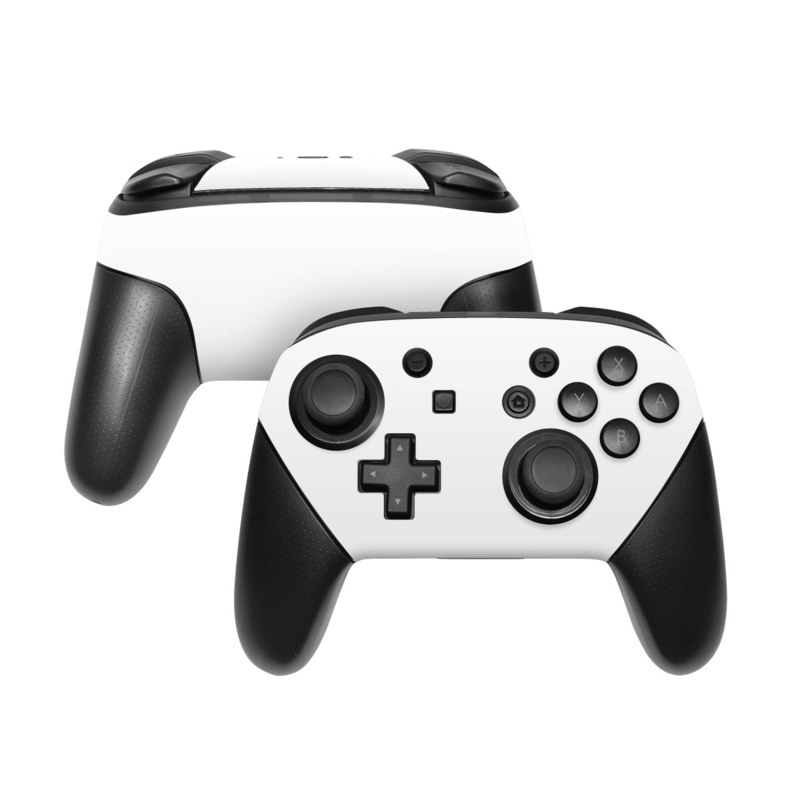 Nintendo Switch Pro Controller Skin design of White, Black, Line with white colors