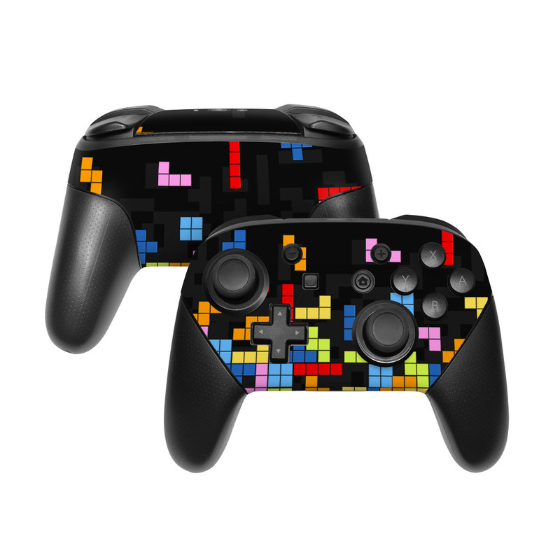 Nintendo Switch Pro Controller Skin design of Pattern, Symmetry, Font, Design, Graphic design, Line, Colorfulness, Magenta, Square, Graphics with black, green, blue, orange, red colors