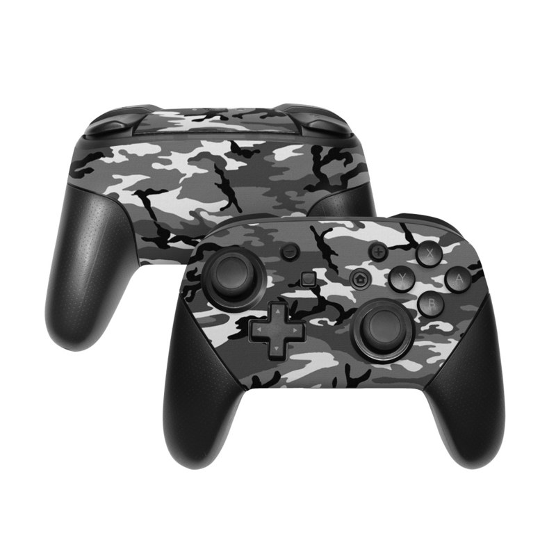 Nintendo Switch Pro Controller Skin design of Military camouflage, Pattern, Clothing, Camouflage, Uniform, Design, Textile with black, gray colors