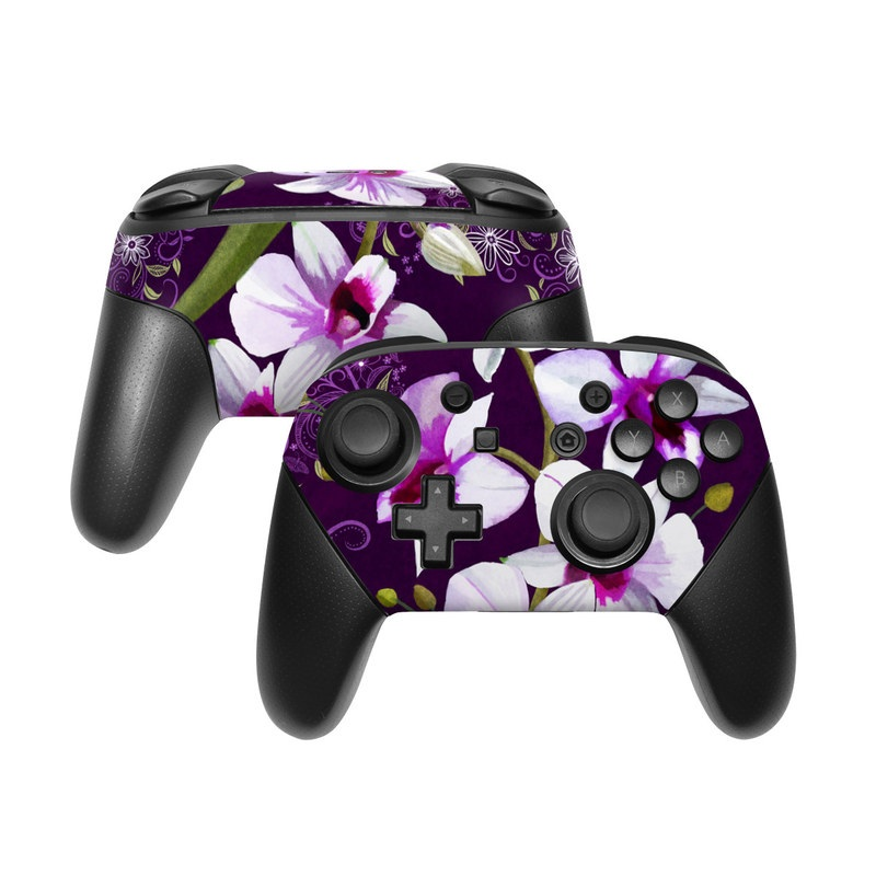 Nintendo Switch Pro Controller Skin design of Flower, Purple, Petal, Violet, Lilac, Plant, Flowering plant, cooktown orchid, Botany, Wildflower with black, gray, white, purple, pink colors