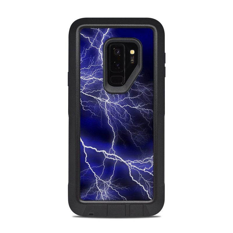 OtterBox Pursuit Galaxy S9 Plus Case Skin design of Thunder, Lightning, Thunderstorm, Sky, Nature, Electric blue, Atmosphere, Daytime, Blue, Atmospheric phenomenon with blue, black, white colors