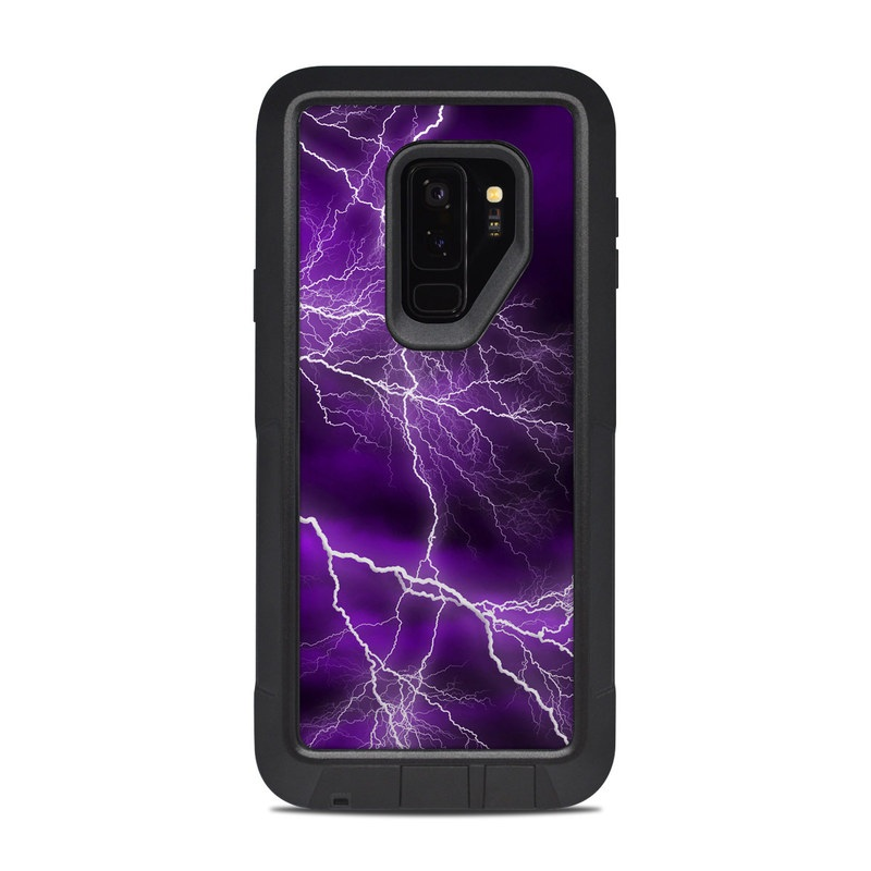 OtterBox Pursuit Galaxy S9 Plus Case Skin design of Thunder, Lightning, Thunderstorm, Sky, Nature, Purple, Violet, Atmosphere, Storm, Electric blue with purple, black, white colors